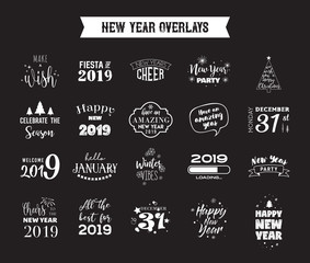Happy New Year 2019 typographic emblems set. Vector logo, text design. Black, white and gold. Usable for banners, greeting cards, gifts etc.