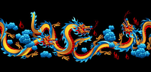 Seamless pattern with Chinese dragons.