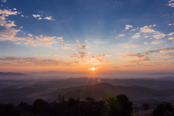 Morning sunrise in the mountains