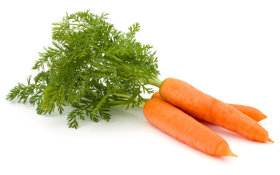 Carrot vegetable with leaves isolated on white background cutout