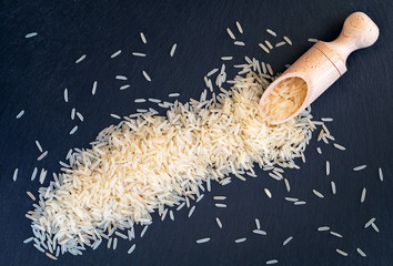 Basmati Rice on a slate background.