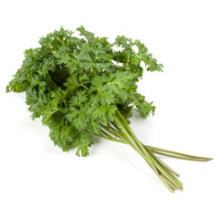 parsley leaves bunch isolated on white background cutout