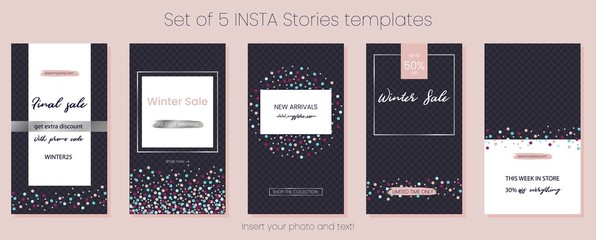 Editable Stories vector template pack. Social media frames. Layout for business story: new arrival, new collection, sale, store announcement