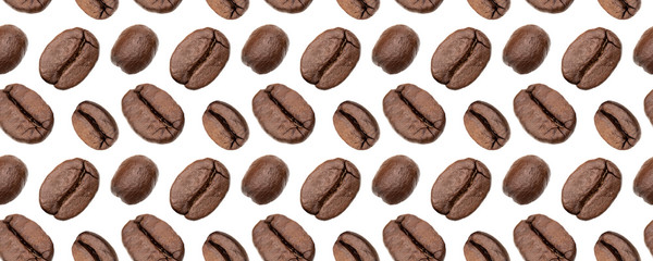 Coffee beans seamless pattern. Isolated on white background,food background . Coffee beans pattern.