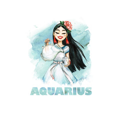 Zodiac sign - Aquarius. Watercolor Illustration
