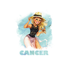 Zodiac sign - Cancer. Watercolor Illustration