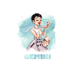 Zodiac sign - Gemini. Watercolor Illustration
