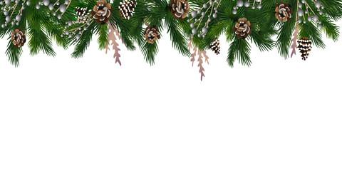 Horizontal banner with christmas tree garland