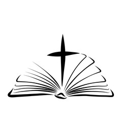 Cross between pages of an open Bible, New Testament
