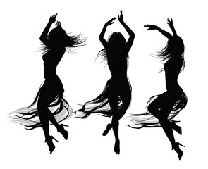 Photo sur Plexiglas Art Studio group of girls dancing and jumping