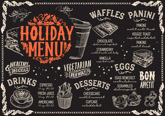 Christmas menu template for brunch on a blackboard.
