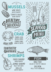 Seafood menu food template for restaurant with doodle hand-drawn graphic.