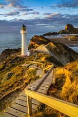 Travel New Zealand, North Island. Beautiful scenic landscape, panoramic view of Castlepoint Lighthouse. Tourist popular attraction/landmark in Wairarapa area.