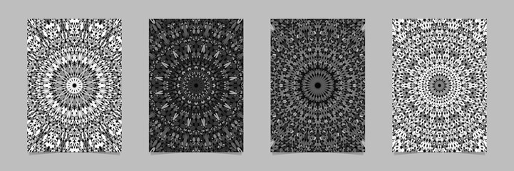 Grey abstract floral kaleidoscope mandala flyer background set - vector stationery template designs
