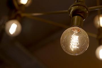 light bulb closeup burning in the dark