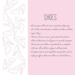 Women shoes row decorative element with text sample