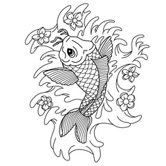 Koi carp. Traditional japonese tattoo. Flash tattoo. Illustration to adult coloring book.