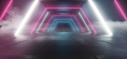 Spaceship Sci Fi Modern Futuristic Dark Smoke Foggy Concrete Reflection White Purple Blue Glowing Lights Empty Space For Text 3D Rendering