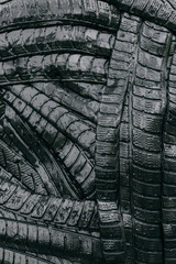 Texture of black and wet car tires
