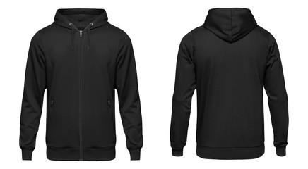 Blank black male hooded sweatshirt long sleeve with clipping path, mens hoody with zipped for your design mockup for print, isolated on white background. Template sport winter clothes