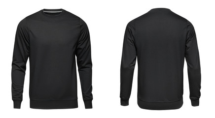 Blank template mens black pullover long sleeve, front and back view, isolated on white background with clipping path. Design sweatshirt mockup for print