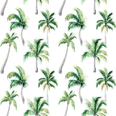 Watercolor seamless pattern with palm trees. Summer decoration print for wrapping, wallpaper, fabric.