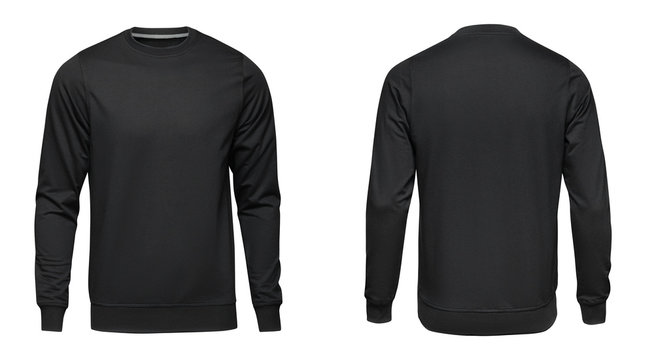 Blank template mens black pullover long sleeve, front and back view, isolated on white background. Design sweatshirt mockup for print