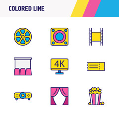 Vector illustration of 9 film icons colored line. Editable set of loudspeaker, movie reel, projector and other icon elements.