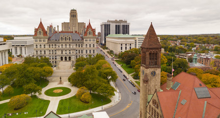 Fall Season New York Statehouse Capitol Building in Downtown Albany