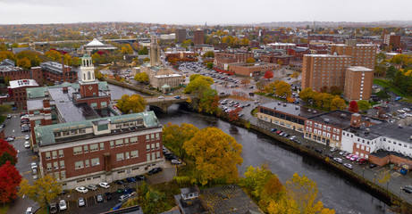 Overcast Skies over the Seekonk River Splitting Pawtucket Rhode Island