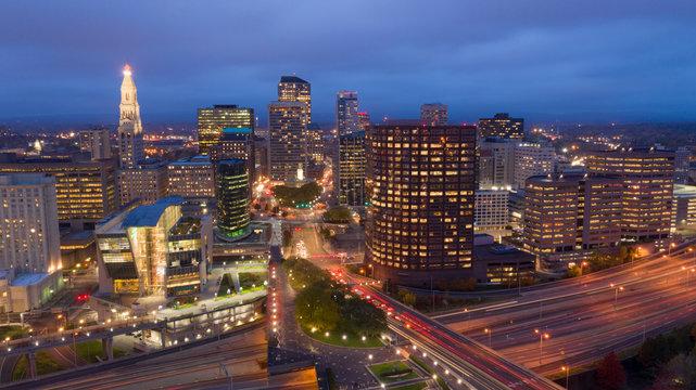 Aerial View Downtown City Skyline Hartford Connecticut After Dark