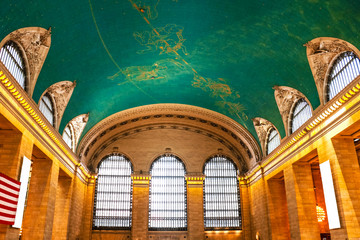NEW YORK - AUGUST 26, 2018: star signs painted at the ceiling of Grand Central in New York It is the largest train station in the world by number of platforms: 44