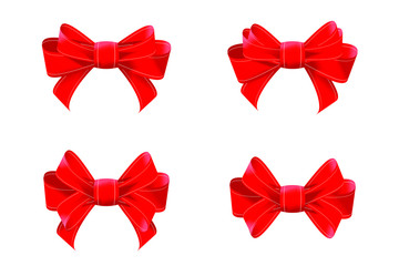 Set of Red Bows Isolated on White Background. Colorful Ribbons for Holiday. 3D Illustration