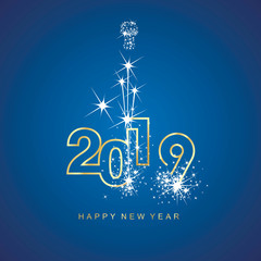 Happy New Year 2019 firework gold line design numbers blue background