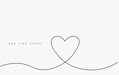 Love heart vector, continuous one line drawing. Vector illustration.