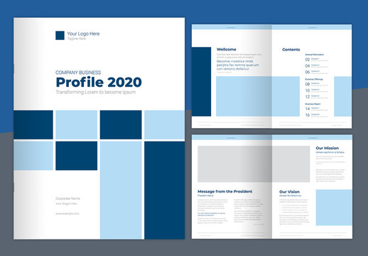 Company Profile Layout with Blue Elements