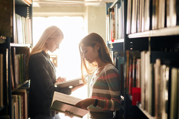 Couple of young female designers come to public library for new ideas, looking through the old magazines and annuals for inspiration.