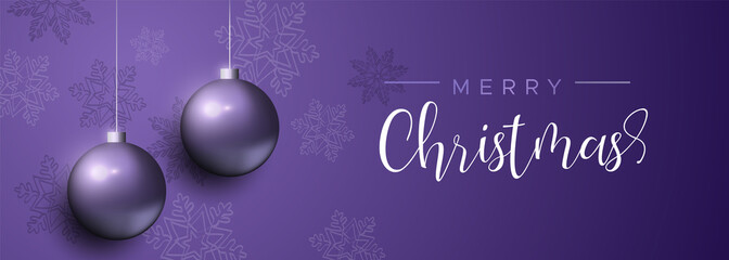 Wall Mural - Purple Christmas luxury bauble ornament banner