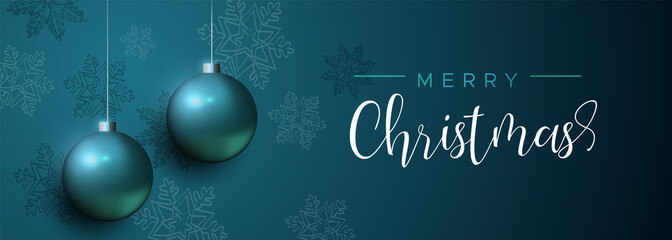 Wall Mural - Blue Christmas luxury bauble ornament banner