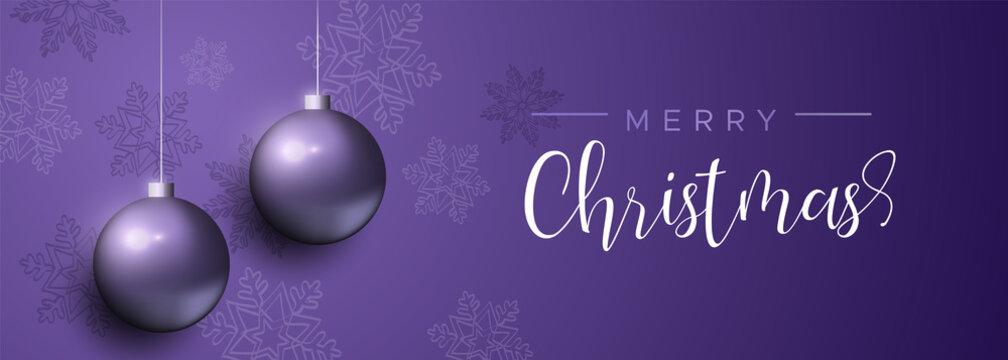 Purple Christmas luxury bauble ornament banner