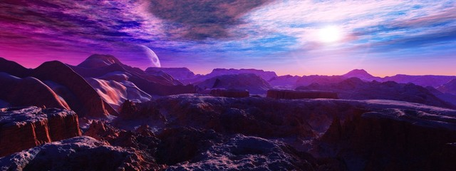 Fotorolgordijn Violet alien landscape, a panorama of a surface of another planet at sunrise,