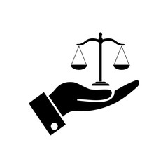 Hand holding Scales justice icon, logo on white background