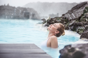 Woman enjoying blue lagoon