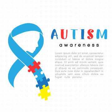 World autism awareness day. Colorful puzzle ribbon with face as symbol autism awareness. Medical flat illustration. Healthcare