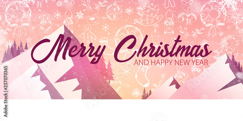 merry christmas and happy new year banner with mauntains and hand draw christmas doodle