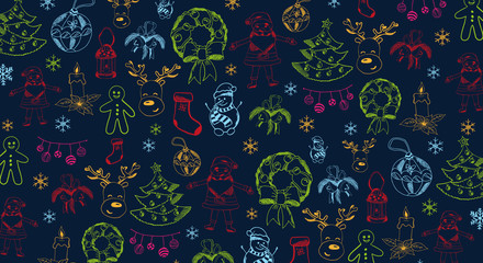 Merry Christmas and Happy New Year. Background with hand-draw christmas doodle elements. Vector illustration.