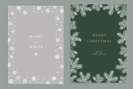 Merry Christmas, Happy New Year decorative vintage greeting cards, invitations. Holiday frames of hand drawn fir tree branches and snowflakes. Elegant engraving illustration, winter design.