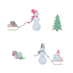 Winter set of snowmen drawn with colored watercolor pencils