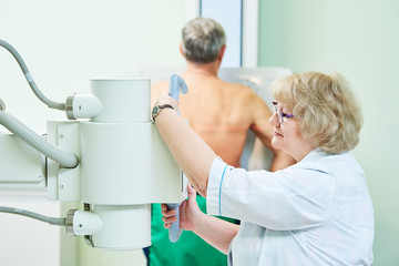 fluorography and healthcare. adult man examination