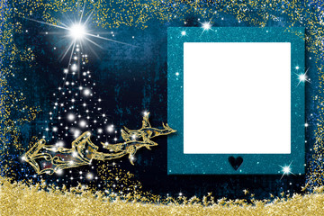 Christmas photo frame greetings cards. Santa Claus sleigh